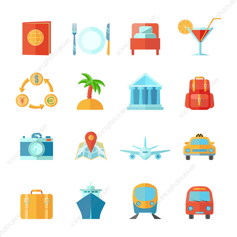 Travel icons, illustration