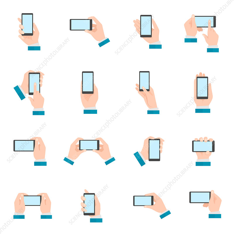 Mobile phone icons, illustration
