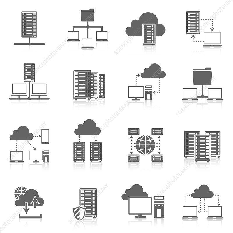 Cloud computing icons, illustration
