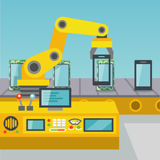 Mobile phone manufacturing illustration
