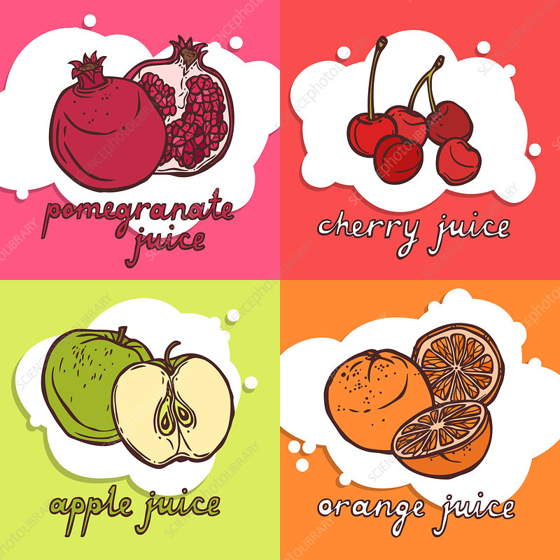 Fruit juices, illustration