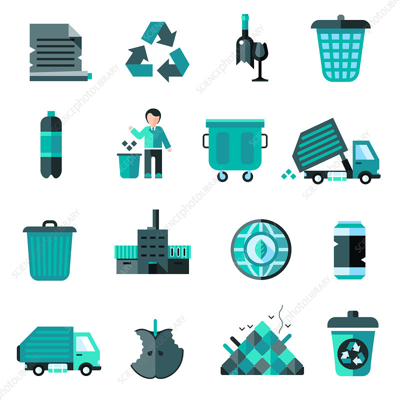 Refuse and recycling icons, illustration