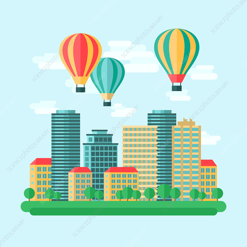 Hot air balloons over city, illustration
