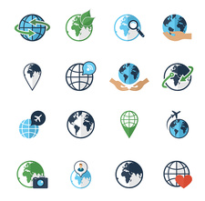 Global icons, illustration