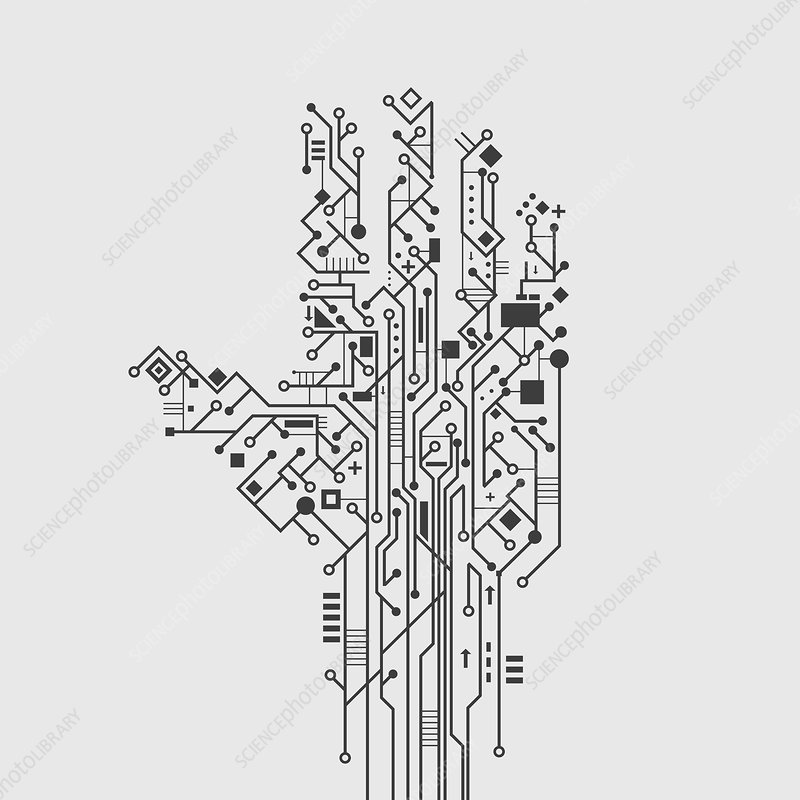 Circuit board hand, illustration