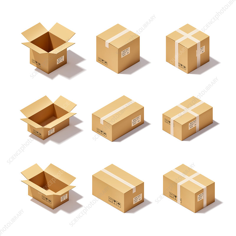 Box icons, illustration