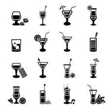 Cocktail icons, illustration