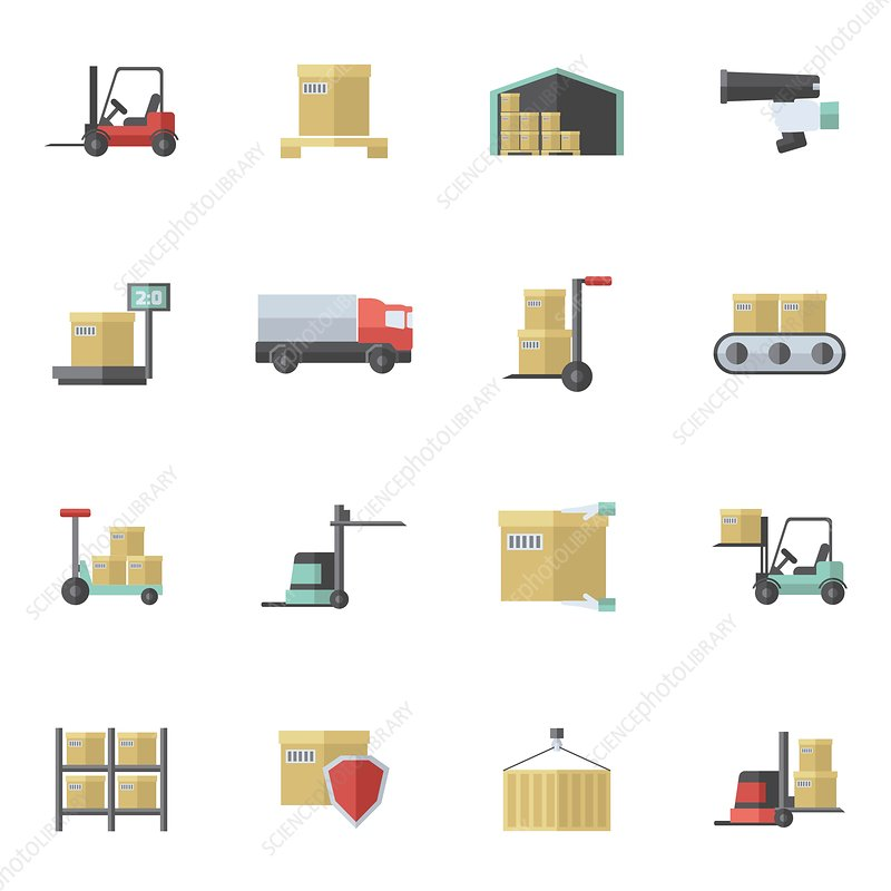 Warehouse icons, illustration