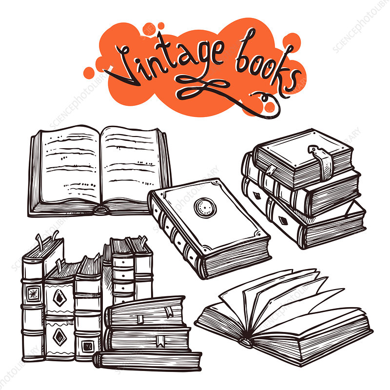 Vintage books, illustration