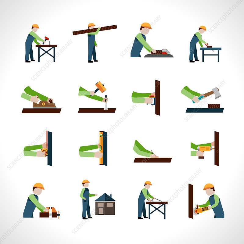 Carpentry icons, illustration