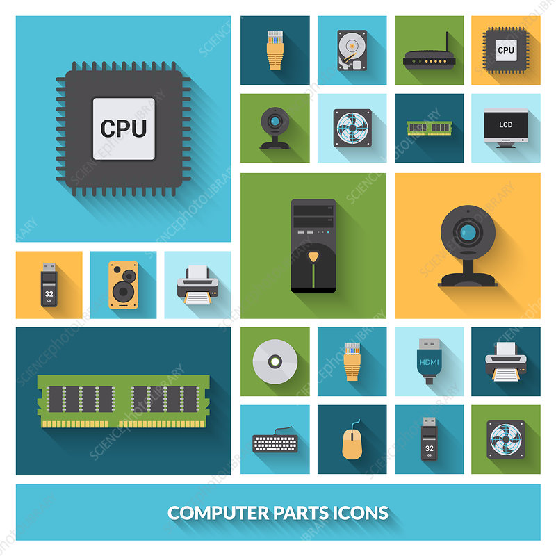 Computer parts icons, illustration