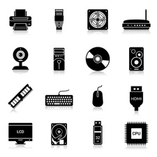 Computer parts and accessories icons, illustration
