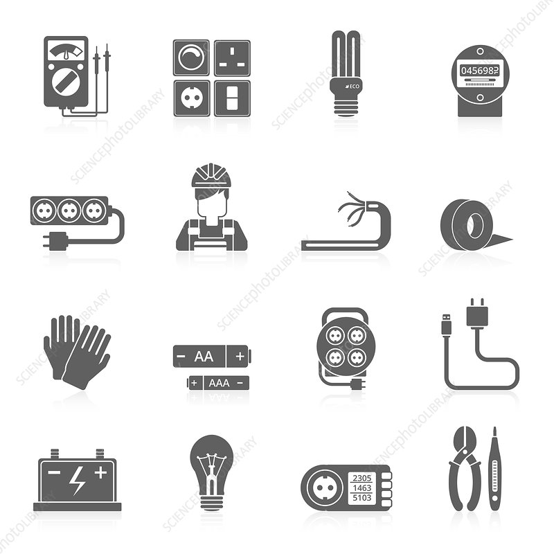 Electricity icons, illustration