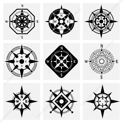 Compass icons, illustration