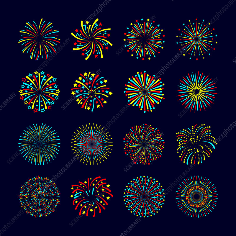 Firework icons, illustration