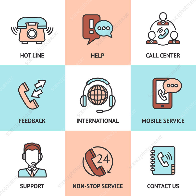 Customer service icons, illustration