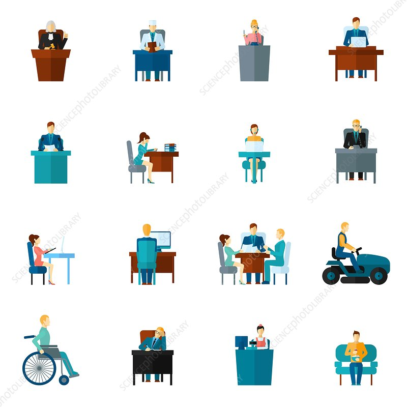 Sedentary lifestyle icons, illustration