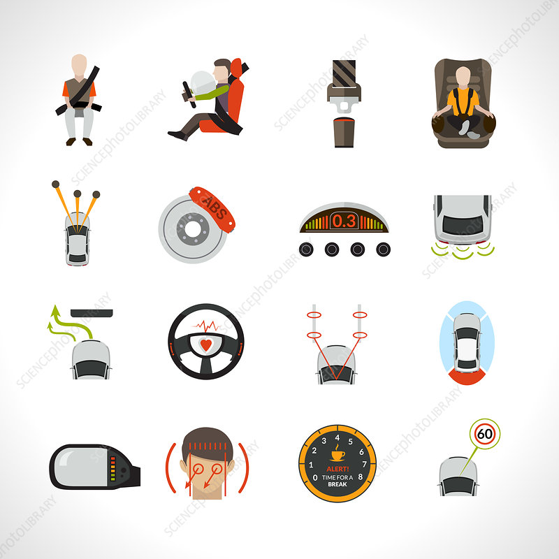 Car safety icons, illustration