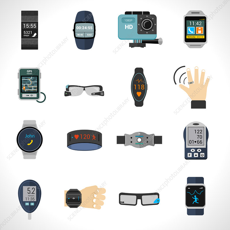 Wearable technology icons, illustration