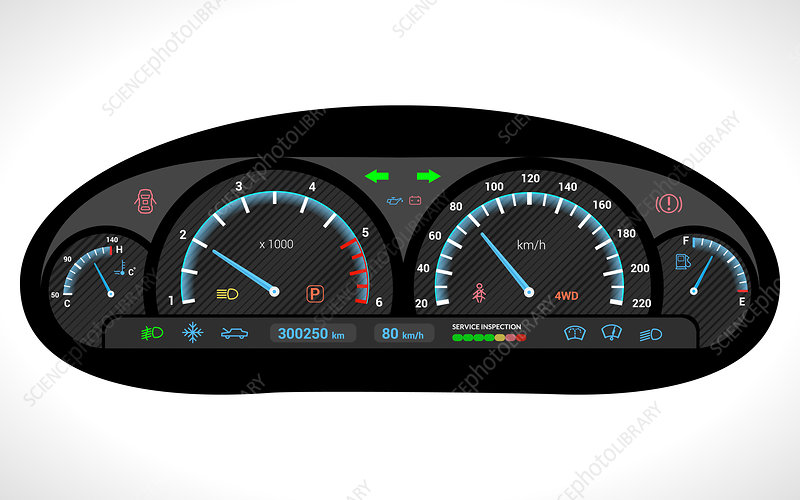 Car dashboard, illustration