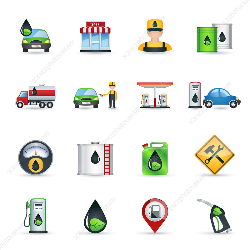 Petrol station icons, illustration