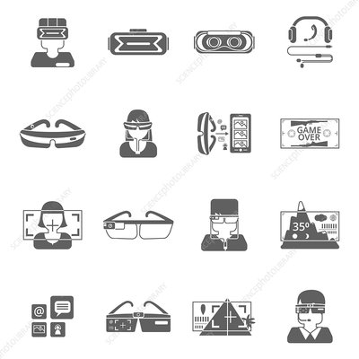 Virtual reality icons, illustration