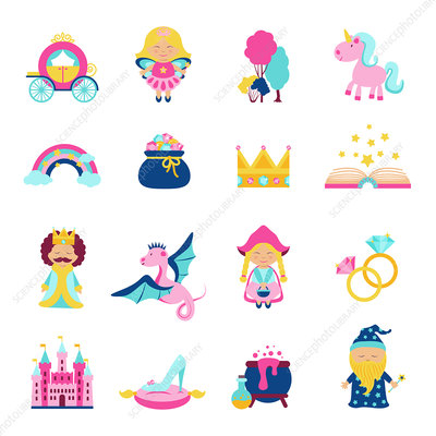Fairy tale icons, illustration