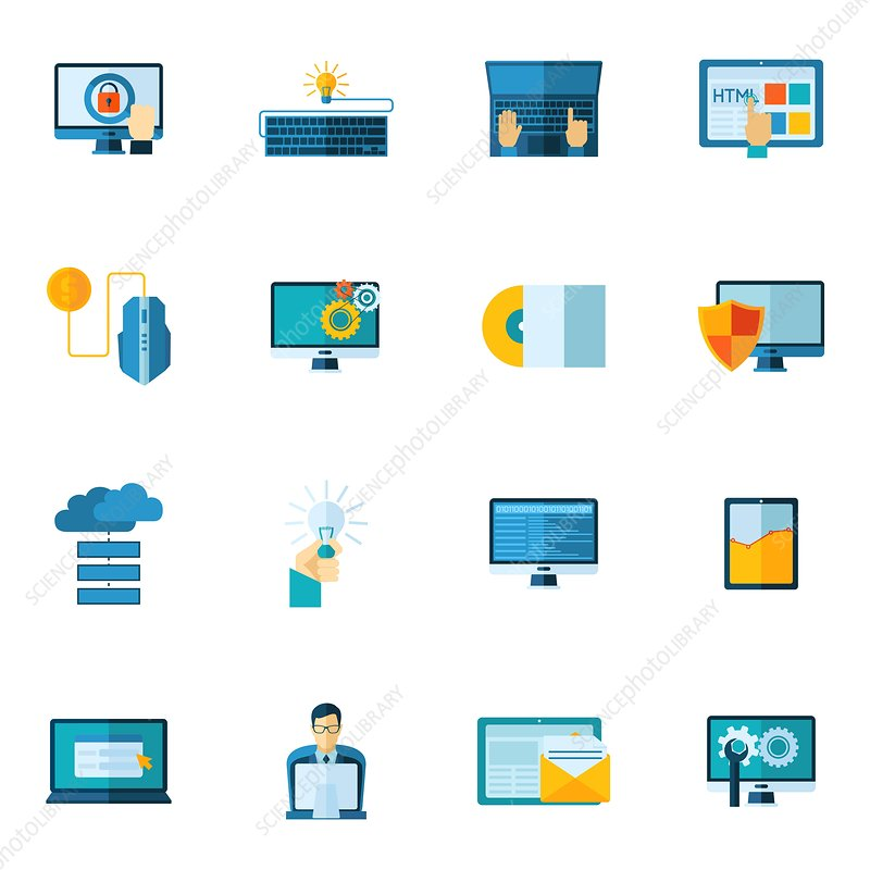 Computer programming icons, illustration