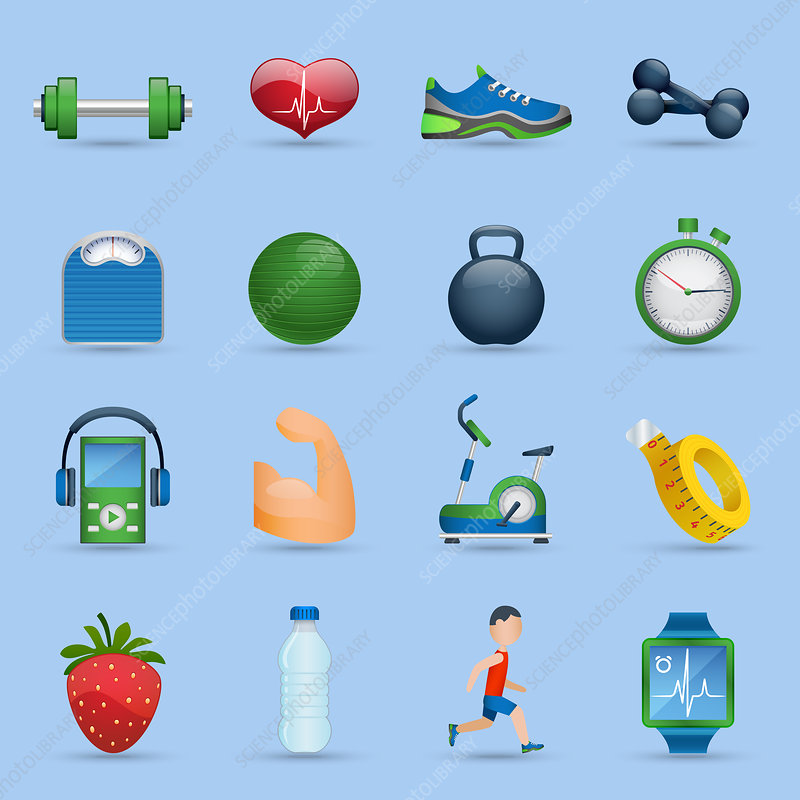 Fitness icons, illustration