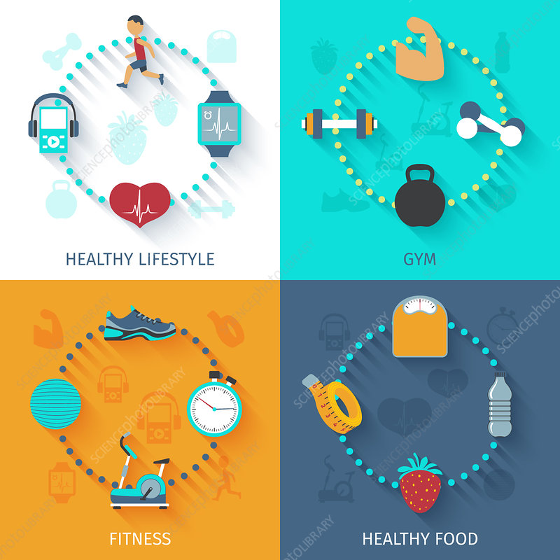 Health and fitness, illustration