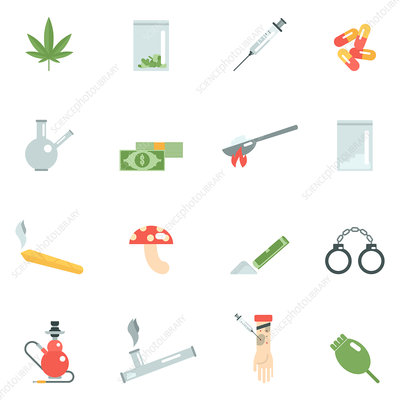 Illegal drug icons, illustration
