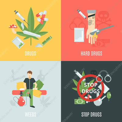 Illegal drugs, illustration
