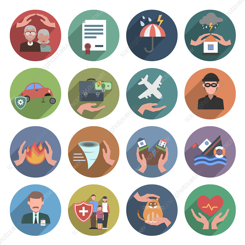Insurance icons, illustration