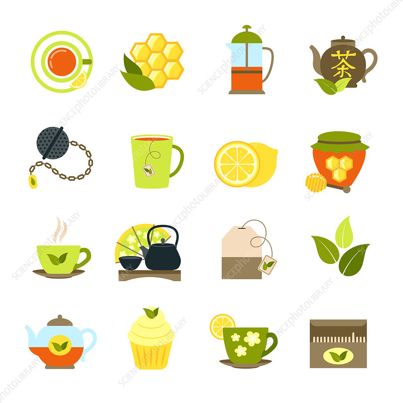 Tea icons, illustration