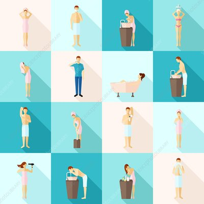 Personal hygiene icons, illustration