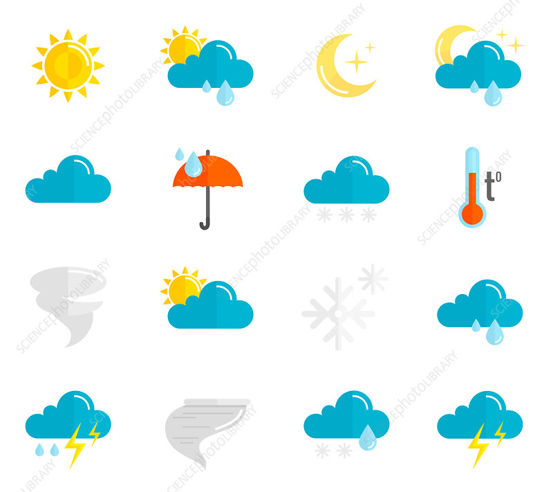 Weather forecast icons, illustration