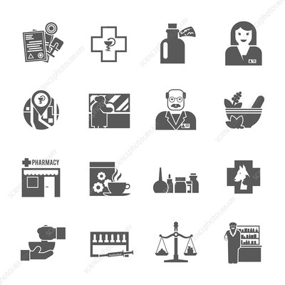 Pharmacy icons, illustration