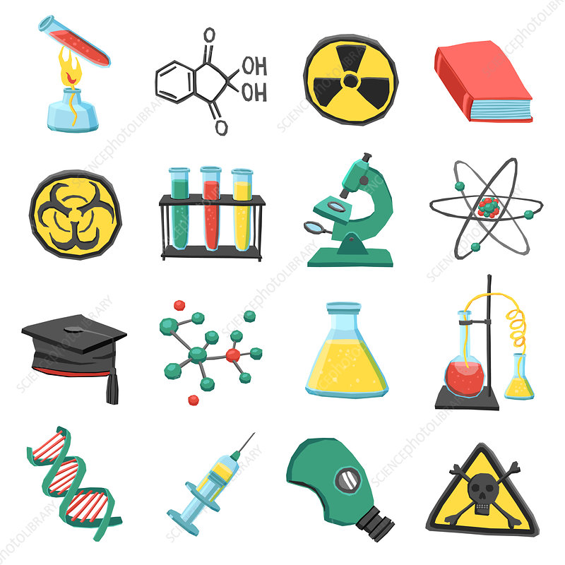 Science education icons, illustration