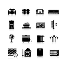 Heating and cooling device icons, illustration