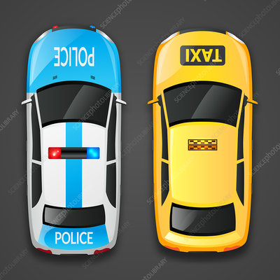 Police car and taxi, illustration