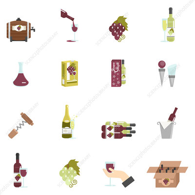 Wine icons, illustration