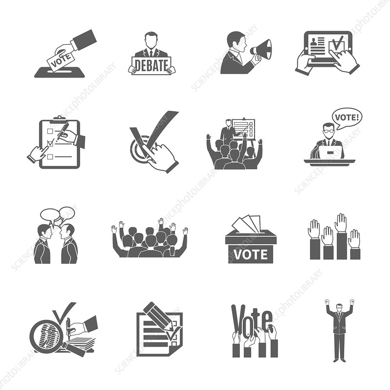 Election and voting icons, illustration
