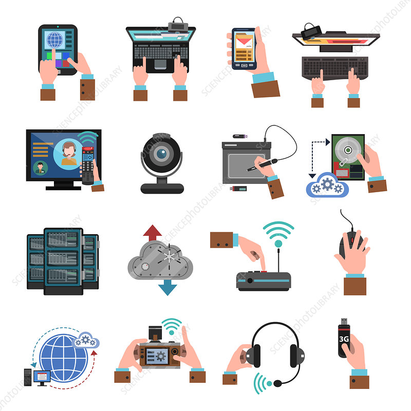 Computer hardware icons, illustration