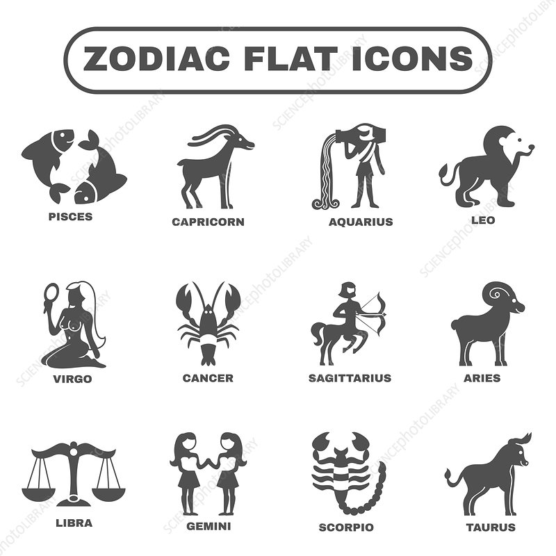 Zodiac icons, illustration