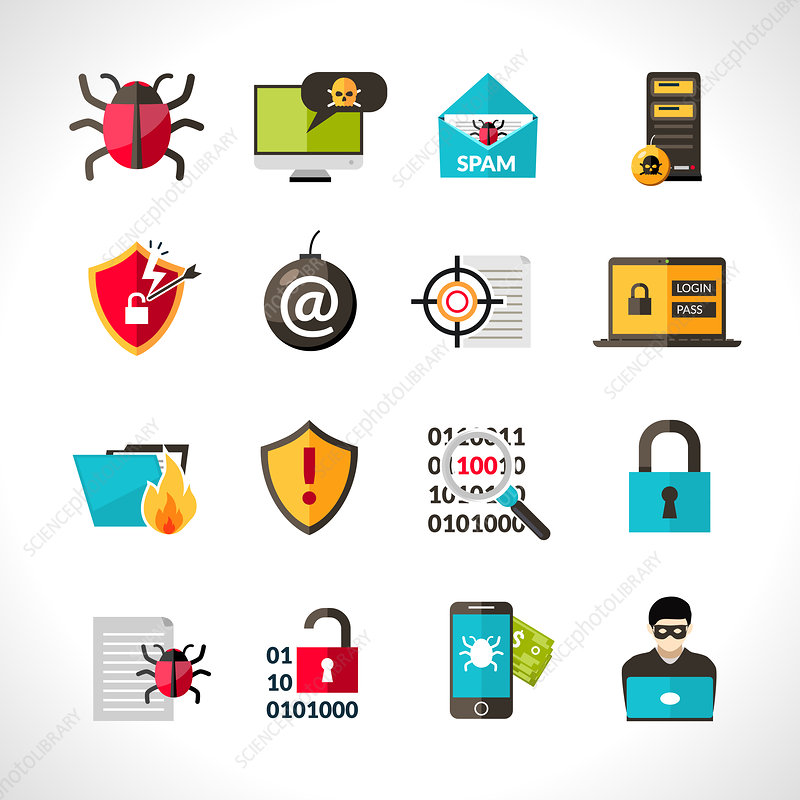 Computer virus and security icons, illustration