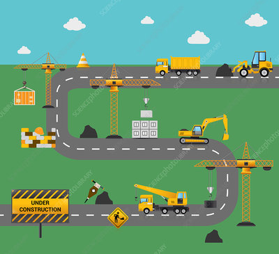 Road construction, illustration