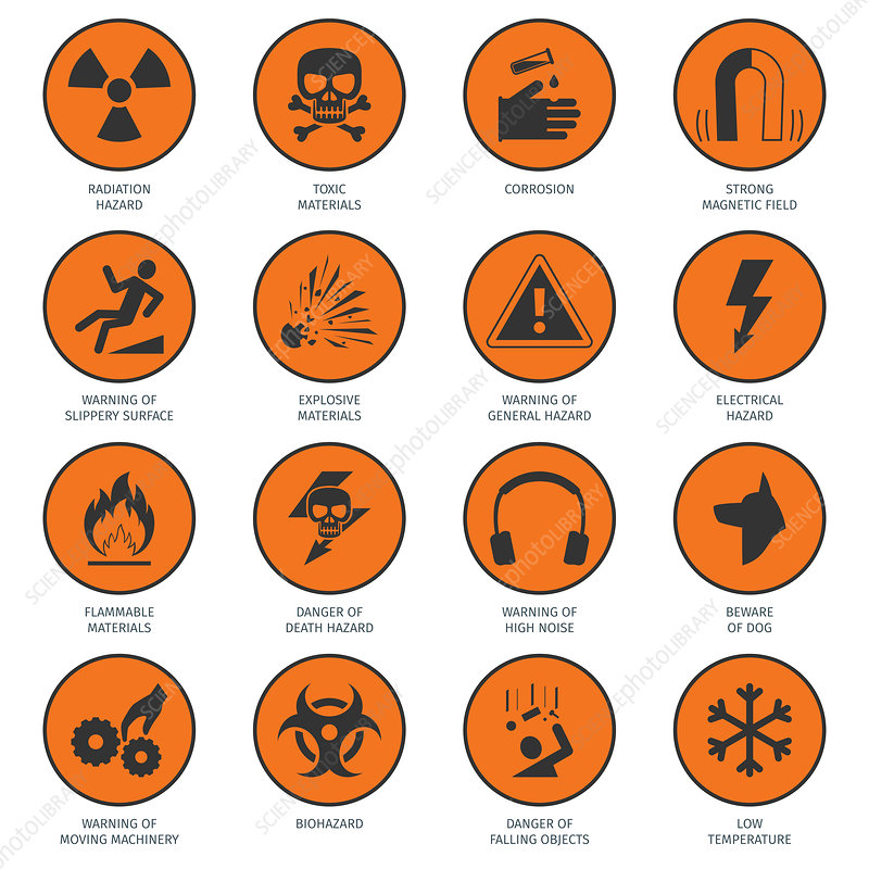 Hazard icons, illustration