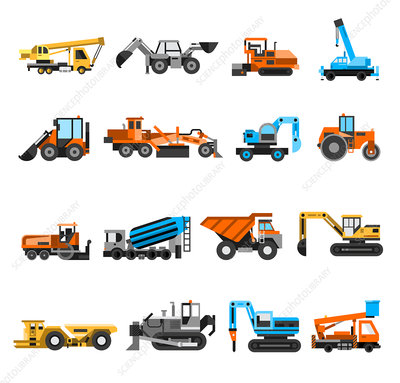 Construction vehicles, illustration