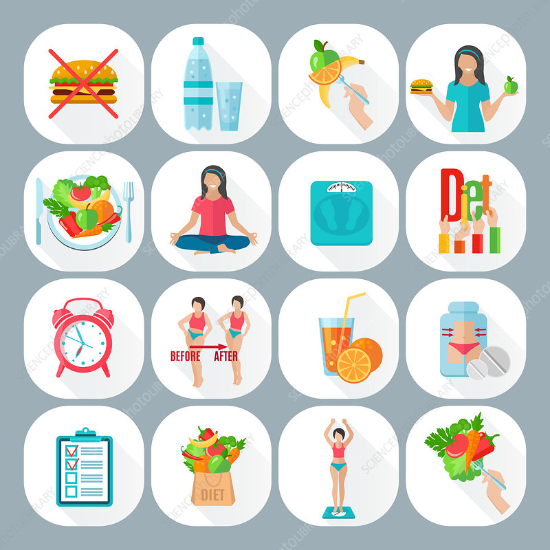 Weight loss icons, illustration
