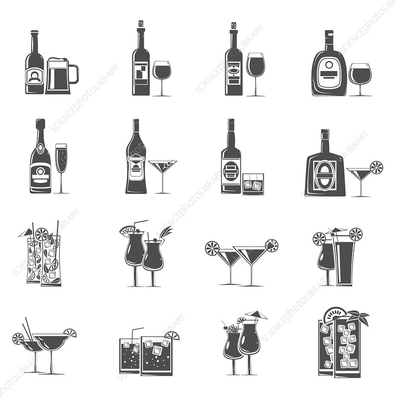 Alcoholic drinks, illustration